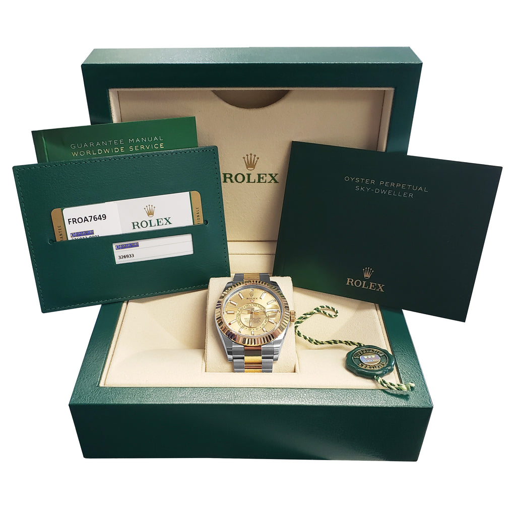 NEW Rolex Sky-Dweller 18K Two-Tone Gold Stainless Champagne 42mm Watch 326933