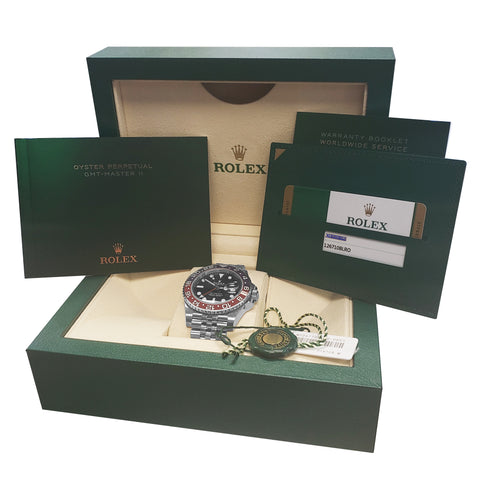 NEW UNWORN Rolex GMT-Master II 'PEPSI' Red Blue Ceramic 126710 BLRO Watch B+P