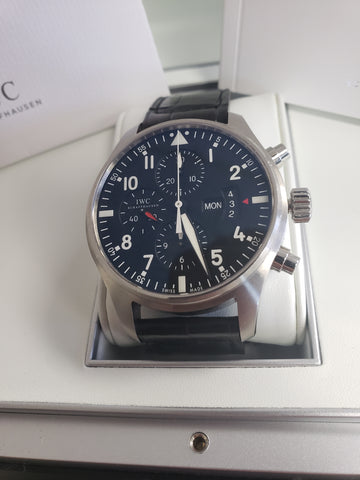 MINT IWC Pilot Chronograph Black 43mm 3777 IW377701 377-01 Stainless Date Watch