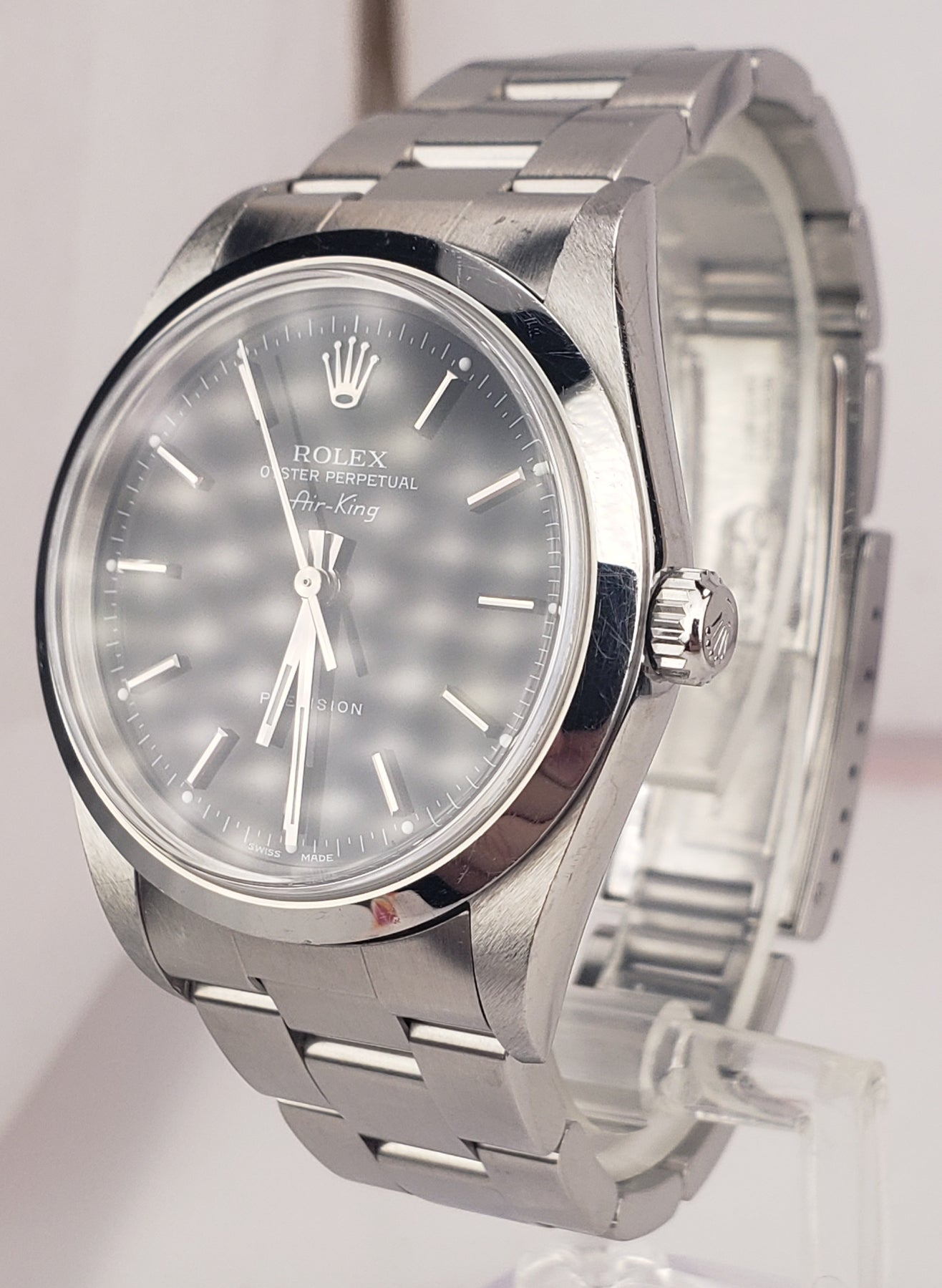 UNPOLISHED Rolex Oyster Perpetual Air-King Black NO-HOLES 34mm Watch 14000 M
