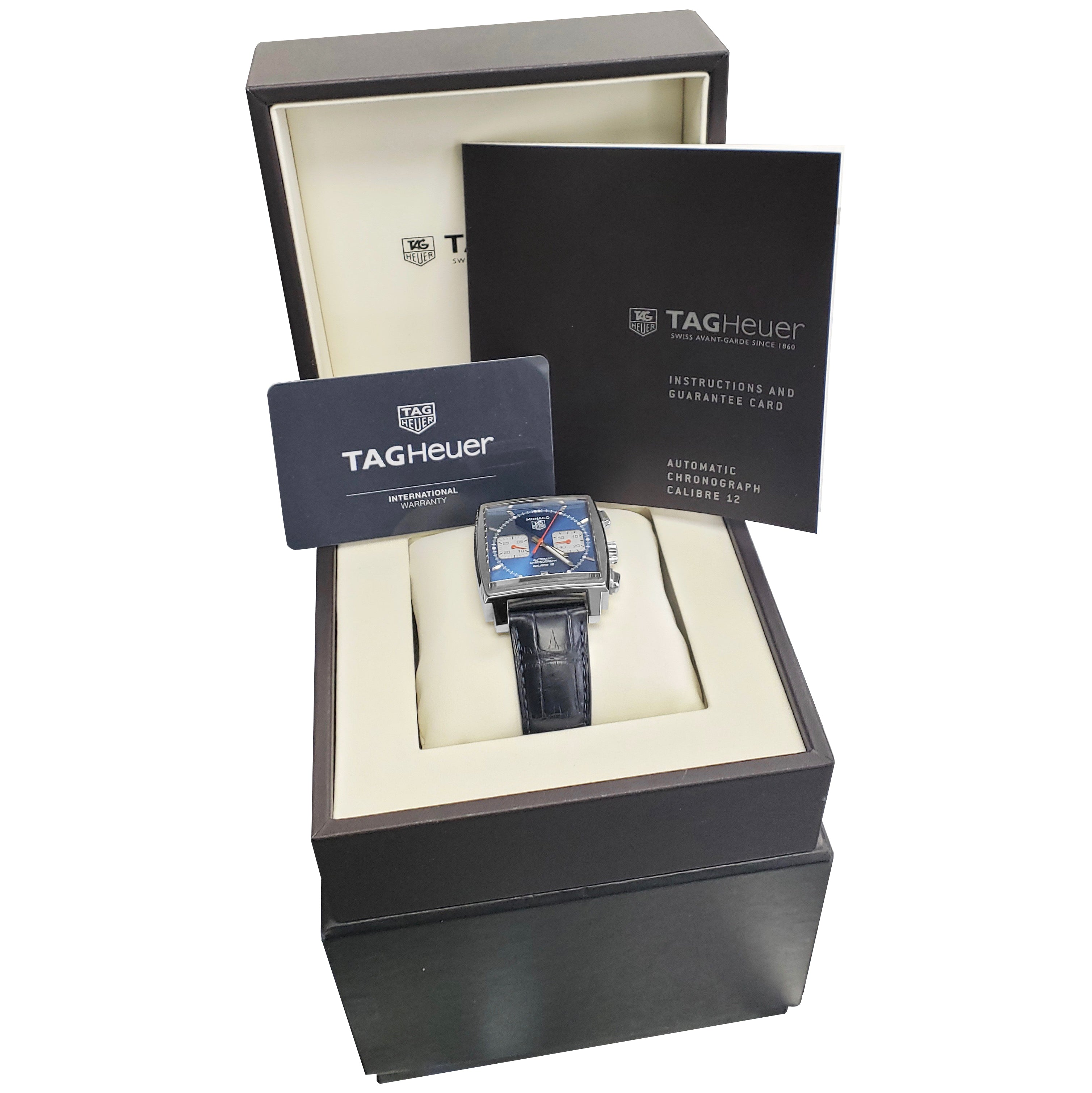 TAG HEUER Monaco Calibre 12 Stainless Steel Blue 39mm Auto Watch CAW2111.FC6183