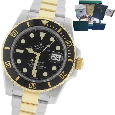 2017 MINT Rolex Submariner Ceramic 116613 N LN Two-Tone Gold Black Dive Watch