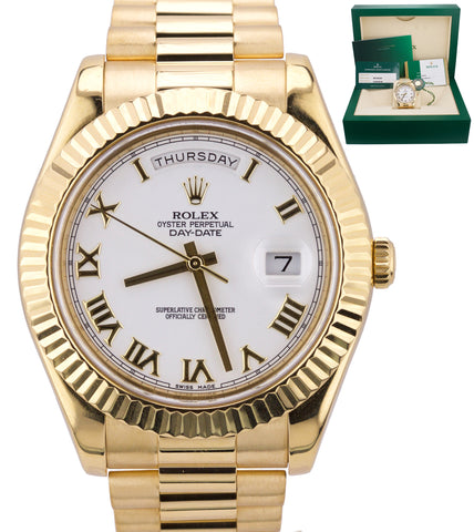 2018 SERVICED Rolex Day-Date II 41mm White Roman President 218238 18K Gold Watch