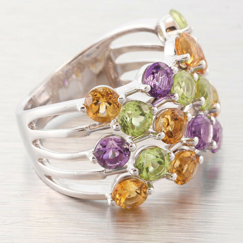 Estate Kristina Solid 18k White Gold Peridot Amethyst Citrine Multi Gem Ring