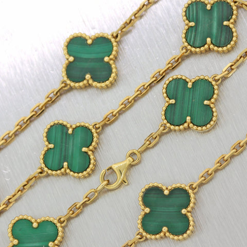 2014 Van Cleef & Arpels 18k Yellow Gold Vintage Alhambra Malachite 16.5 Necklace