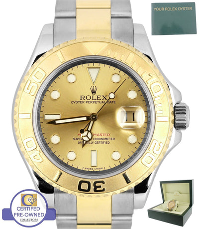 2014 ENGRAVED RANDOM SERIAL Rolex Yacht-Master 16623 Two Tone Gold Champagne