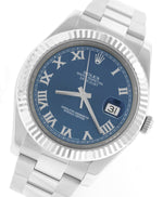 MINT Rolex Datejust II 2 41MM Blue Azzurro Roman 116334 Stainless 18K Gold Watch