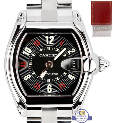 Mint Cartier Roadster Automatic Roulette Black W62002V3 36mm Stainless 2510