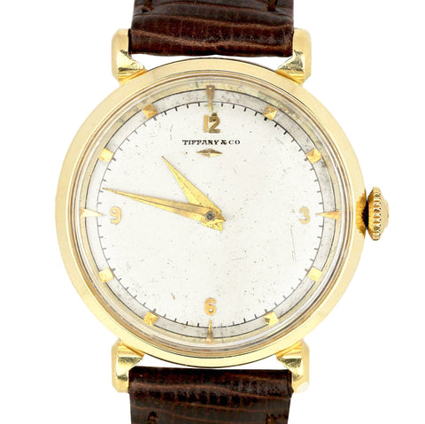 Vintage Hamilton Tiffany & Co. Silver 30mm 14K Yellow Gold Manual Leather Watch