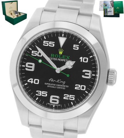 Mint Rolex Air-King 40mm Green Yellow Black Arabic Stainless Steel 116900 Watch