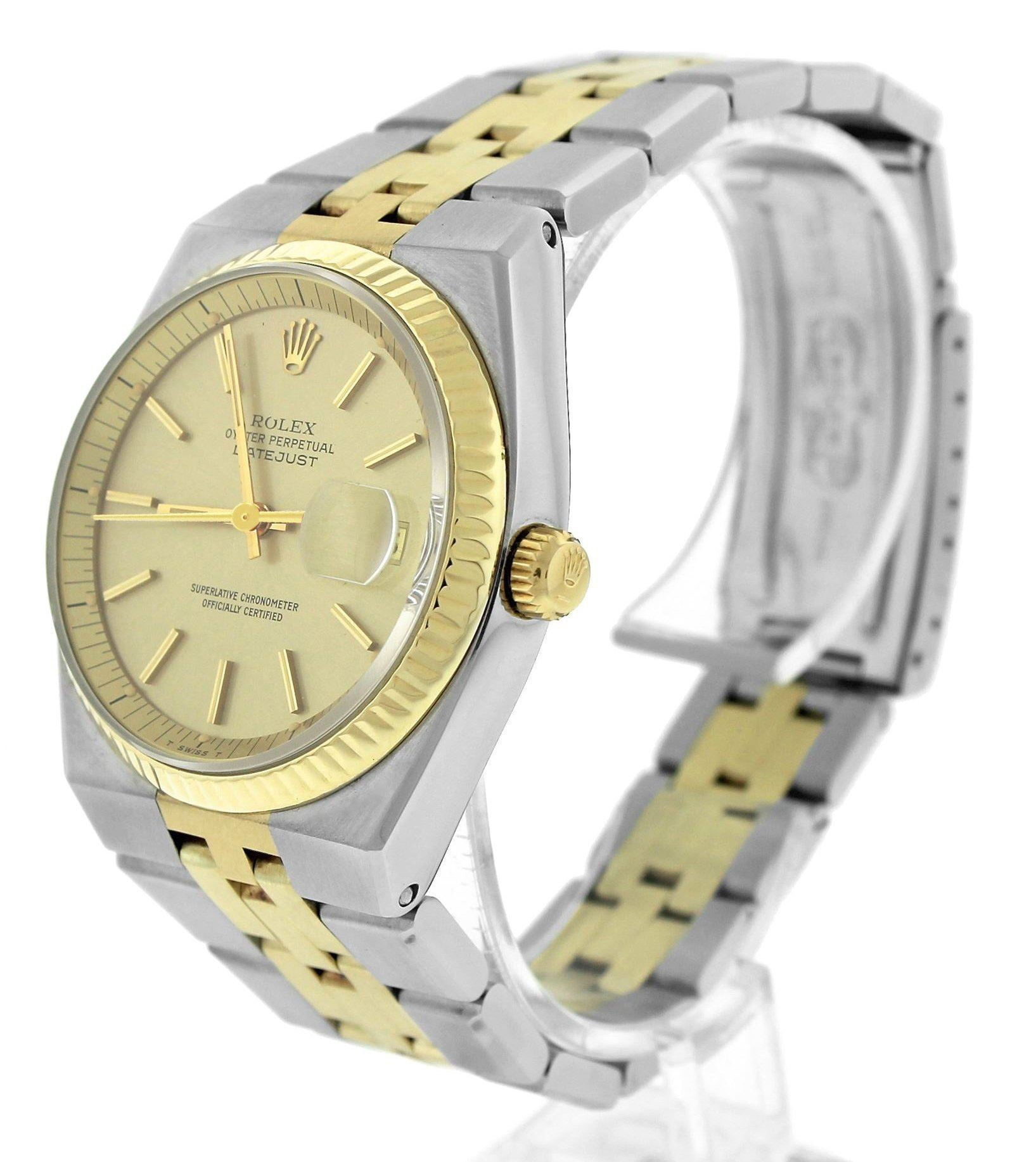 RARE Rolex DateJust Integral Automatic 36mm 1630 Two-Tone Gold Champagne Jubilee