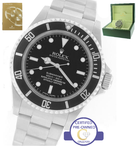 2011 ENGRAVED REHAUT Rolex Submariner 4-Line No-Date 14060 M Stainless Watch