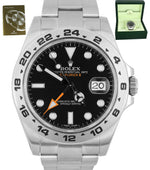 MINT Rolex Explorer II 42mm 216570 Black Orange Stainless GMT Swiss Date Watch