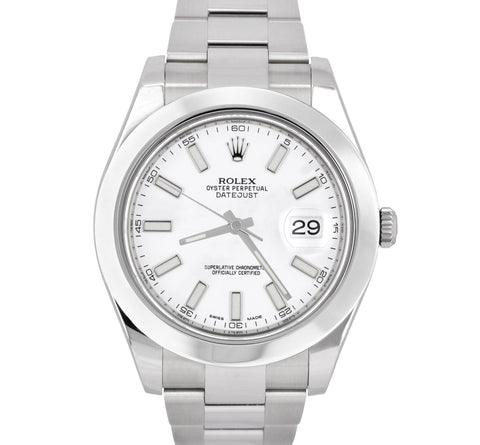 MINT 2017 Rolex DateJust II 41mm White Smooth Stainless Oyster Watch 116300