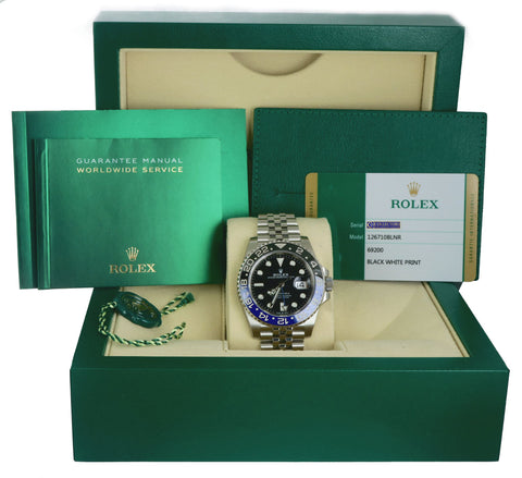 BRAND NEW Rolex GMT Master II Batman Black Blue SS Ceramic 126710 BLNR B+P