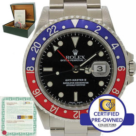 Rolex GMT-Master II Pepsi Blue Red Steel 16710 Date SEL A Watch B&P 16700