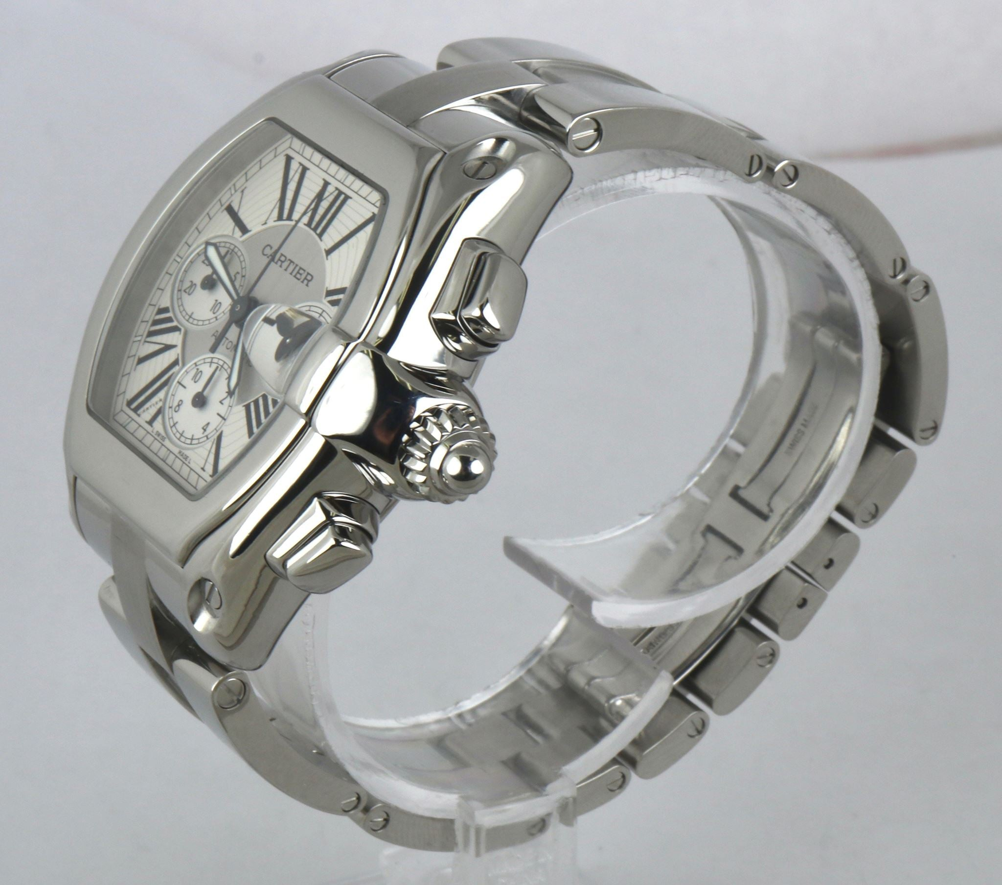 MINT Men's Cartier Roadster XL Stainless Silver White Chronograph W62019X6 2618