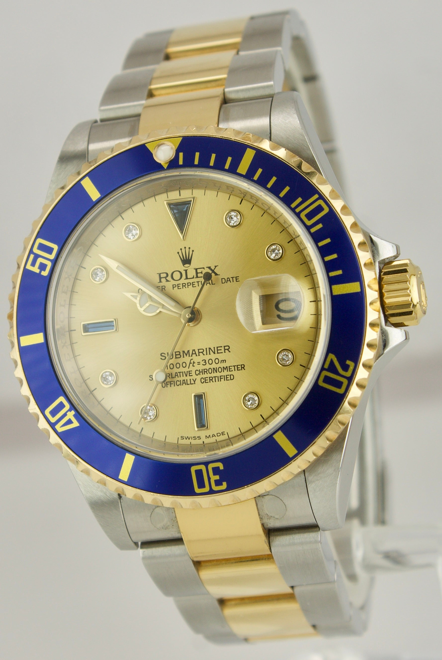 2008 Rolex Submariner Date REHAUT Champagne Sapphire Diamond Serti Watch 16613