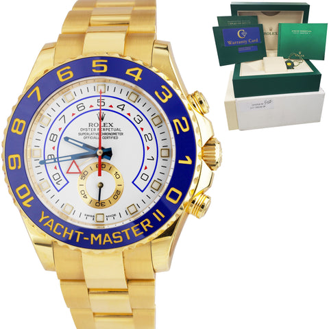 Rolex Yacht-Master II 18K Solid Yellow Gold BLUE HANDS Regatta 44mm Watch 116688