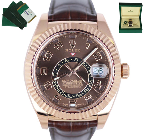 MINT Rolex Sky-Dweller 18K Rose Gold 326135 42mm Chocolate Dial Leather Watch