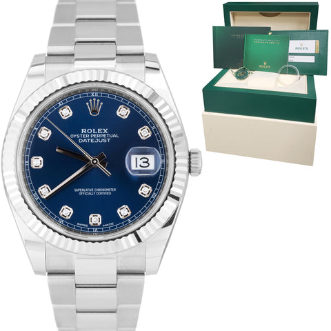 Rolex DateJust 41 Blue Diamond Fluted Stainless Steel Oyster Watch 126334 B+P