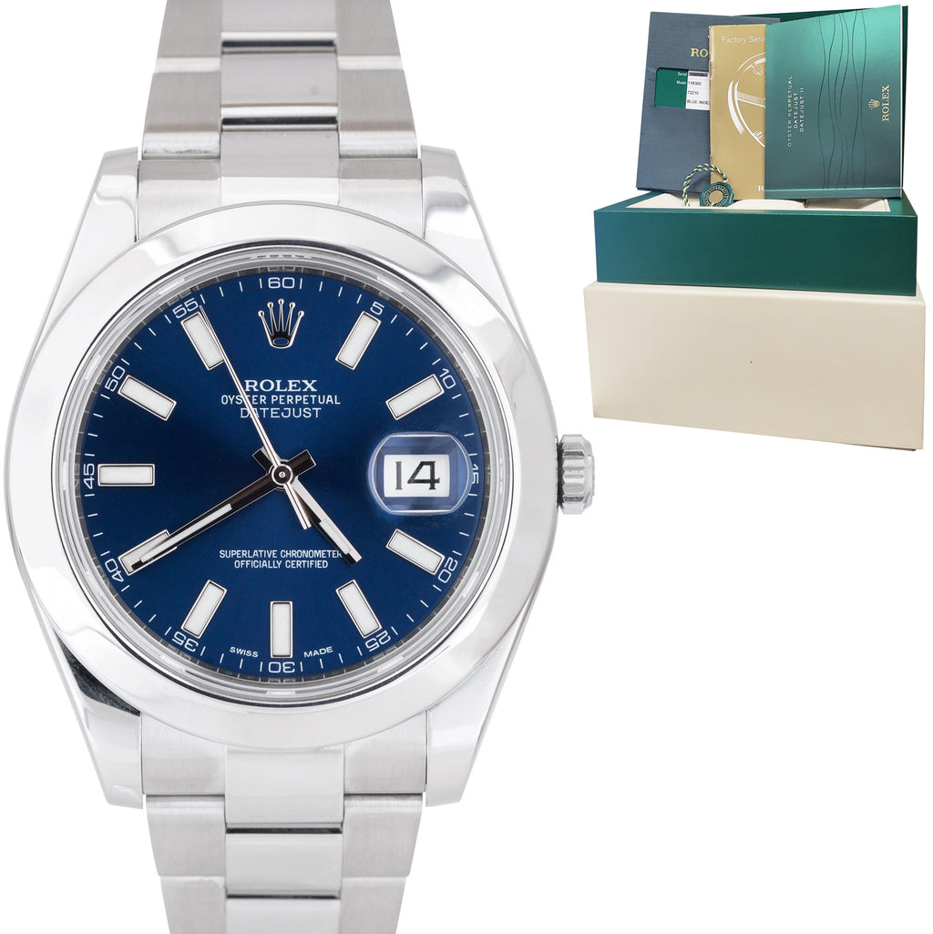 MINT Rolex DateJust II Blue Smooth Stainless Steel 41mm Oyster Watch 116300 B+P