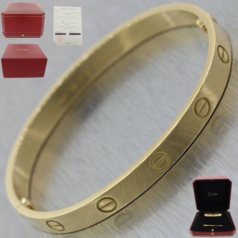 2015 Cartier 18k Yellow Gold New Style Screw Love Bangle Bracelet Sz17