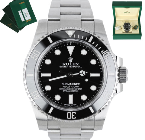 MINT 2020 Rolex Submariner No-Date Stainless Black Ceramic 40mm 114060 Watch