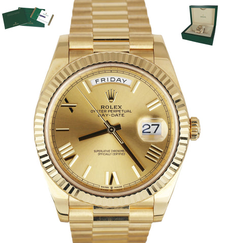 2018 Rolex Day-Date 40 President 18K Yellow Gold Champagne Roman 228238 40mm