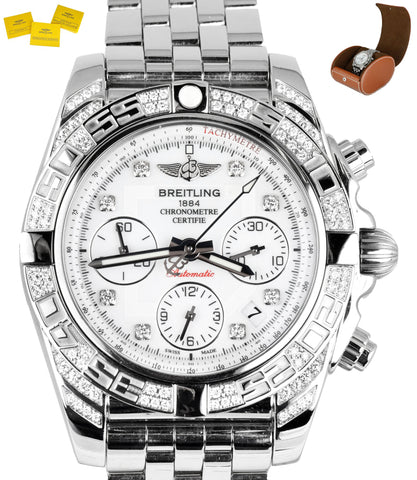 MINT Breitling Chronomat 41 MOP Diamond Chronograph Stainless Steel 41mm AB0140