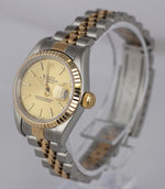2001 Ladies Rolex DateJust 79173 18K Gold 26mm Champagne Two-Tone Jubilee Stick