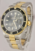 2006 FULL SET Rolex Submariner Two-Tone Gold SS NO HOLES Black 40mm Watch 16613