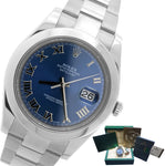 MINT Mens Rolex DateJust II 41mm 116300 Blue Roman Smooth Stainless Oyster Watch