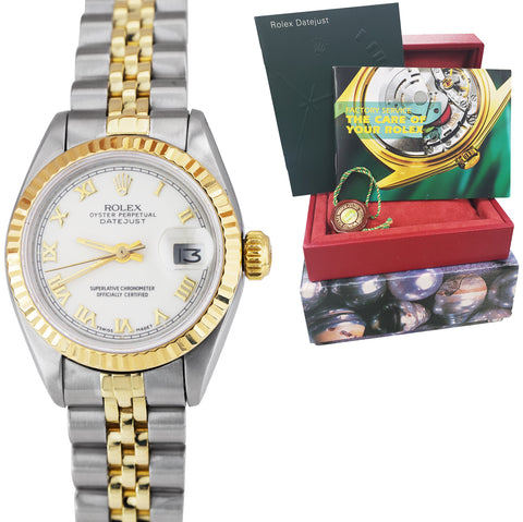 Ladies Rolex DateJust 26mm 69173 White Roman Two-Tone Gold Jubilee Watch 6917