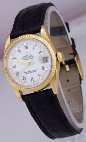 Rolex DateJust President 31mm Mid-Size 18K Yellow Gold White Roman Watch 68278