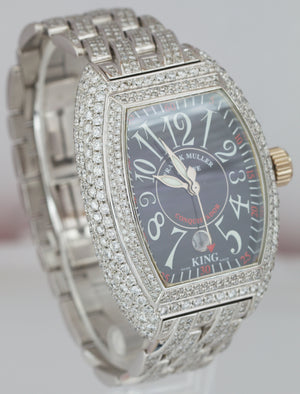 MINT Franck Muller KING D Conquistador 18K White Gold Diamond 46mm Watch 8005 SC