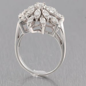 Antique Vintage Estate 14k Solid White Gold 0.70ctw Diamond Flower Ring