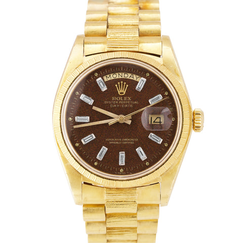 Rolex Day-Date President 36mm Confetti Dial Bark 18K Yellow Gold Watch 1807