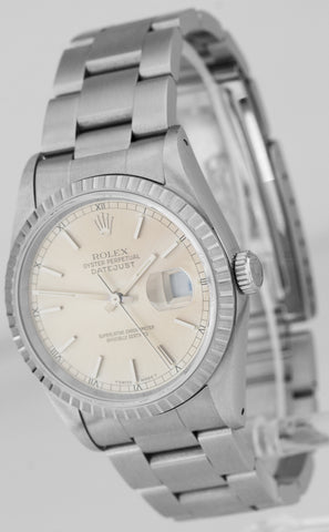 MINT UNPOLISHED Rolex DateJust 36mm Silver Engine Turned Stainless Watch 16220