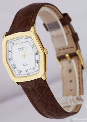 Rolex Geneve Cellini 31mm White Roman 18K Yellow Gold Mechanical Watch 4170
