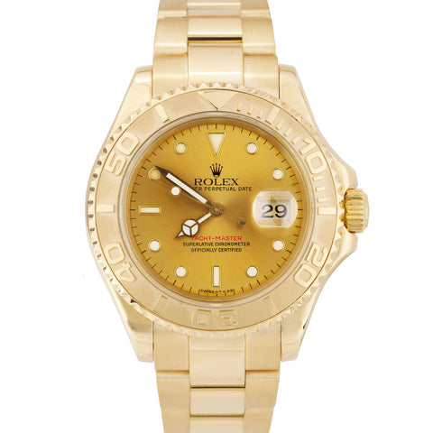 Men's Rolex Yacht-Master 18K Yellow Gold 40mm Champagne Oyster Date Watch 16628