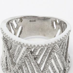 Modern Solid 14k White Gold Wide Linear 1.20ctw Diamond Ring