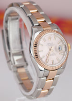 Ladies MINT Rolex DateJust Two-Tone Rose Gold 26mm PINK INDEX Watch 179171 B+P