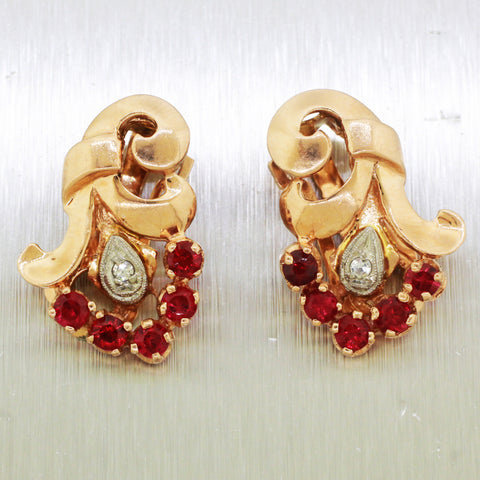 1940s Retro 14k Rose Gold 2.00ctw Ruby & Diamond Bouquet Earrings