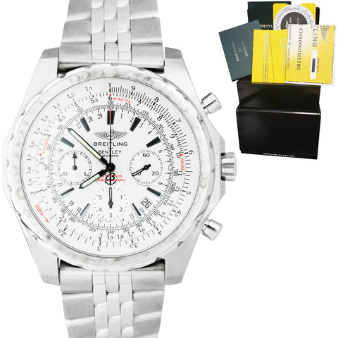 Breitling Bentley Chronograph White Stainless Steel 48mm Watch A25363 FULL SET