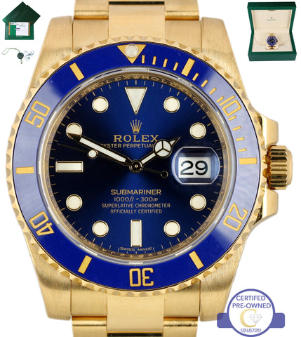 MINT 2017 Rolex Submariner Date 116618 Ceramic 18K Yellow Gold Blue 40mm Dive Watch