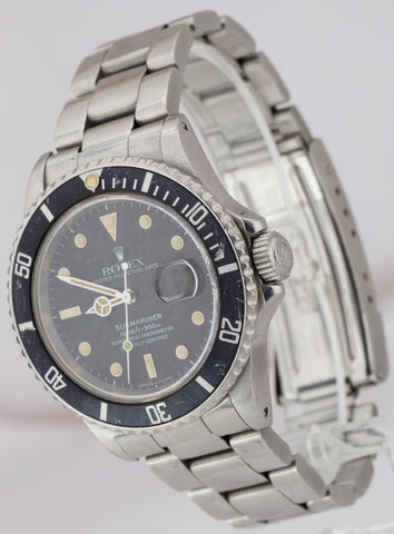 Vintage 1986 Rolex Submariner Date CREAM PATINA Stainless Steel 40mm Watch 16800