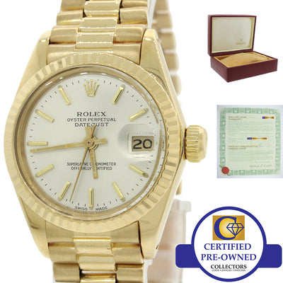VTG Ladies Rolex DateJust President 26mm 6917 18K Yellow Gold Watch B&P 69178