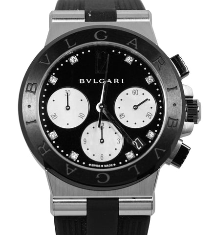 $9200 MSRP NEW BVLGARI Bulgari Diagono 37mm Black Diamond MOP DG 37 SC CH Watch
