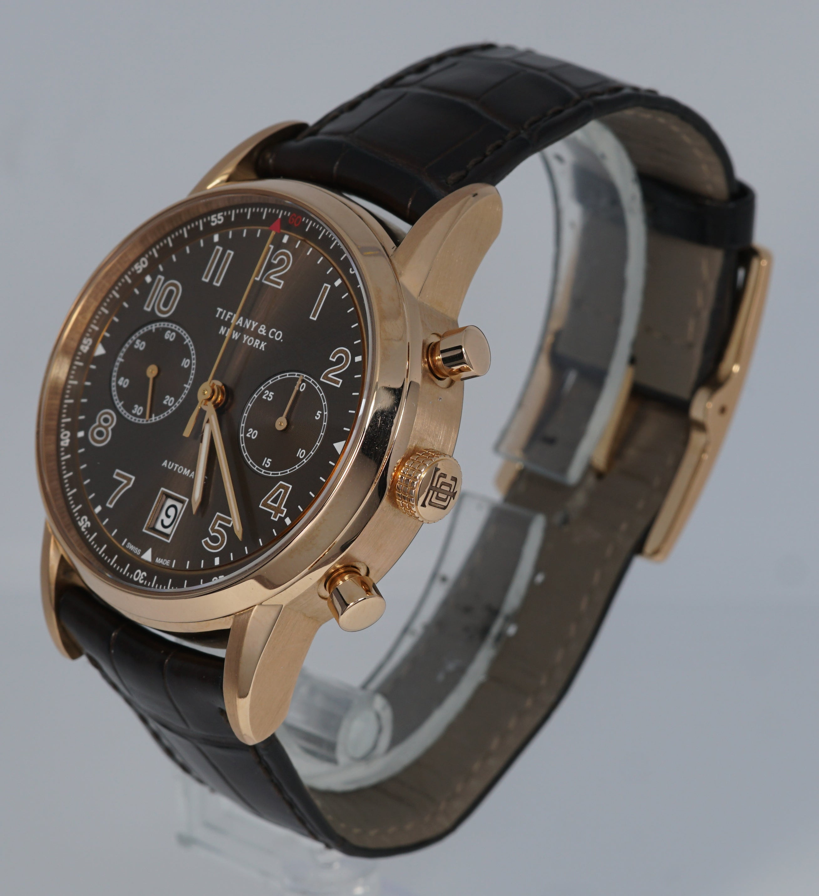 Tiffany & Co. CT60 Chronograph 42mm 18K Rose Red Gold Brown Leather Date Watch